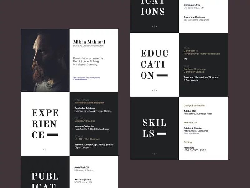 BLACK AND WHITE CHESSBOARD STYLE Resume